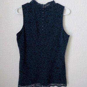 Tahari ASL Lace Top Lined Medium Navy Blue Stretch